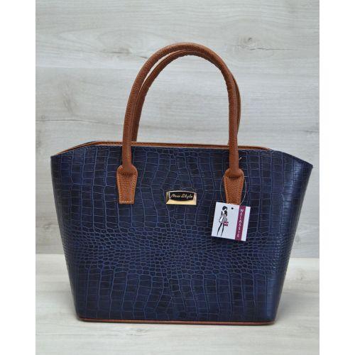 Женская сумка «Две змейки» синяя кроко 11517