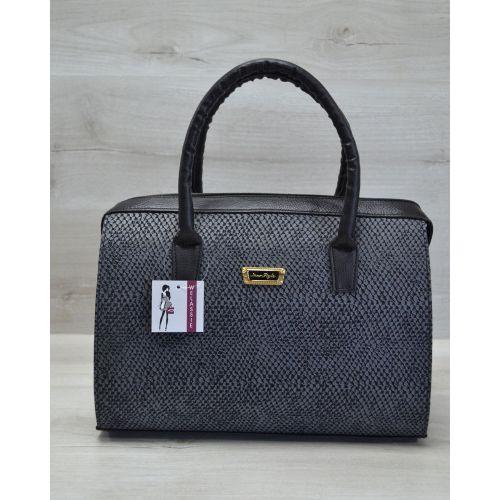 Женская сумка Саквояж серый питон 31111