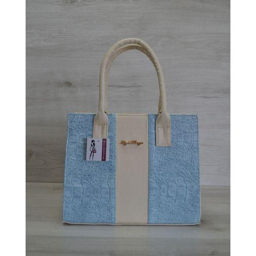 Женская сумка бежевая с голубым 31201