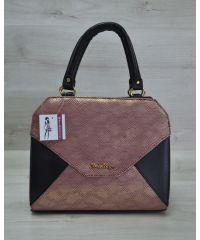 Женская сумка Конверт черная с бордовым золотом 31806