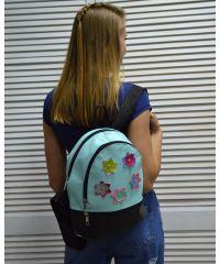 Молодежный рюкзак «Цветочки» голубой 42303