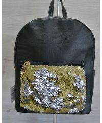 Рюкзак «Пайетки» зеленый с золотым 42602
