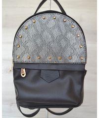 Рюкзак сверху шипы черный c серебром 43404