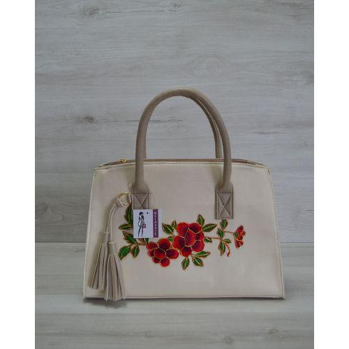 Женская сумка Кисточка бежевая с цветами 52003