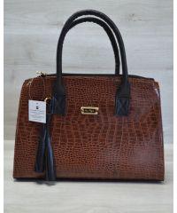 Женская сумка Кисточка рыжий кроко с черным 52018