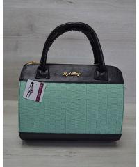 Женская сумка Плетенка ментол с черным 52104