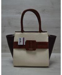 Женская сумка с ремнем бежево-рыжая 52201