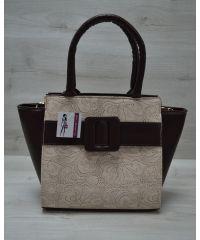 Женская сумка с ремнем бежевая 52211