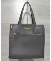Сумка с накладным карманом серая 54201