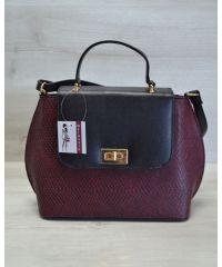 Женская сумка-клатч бордовая с черным 61402
