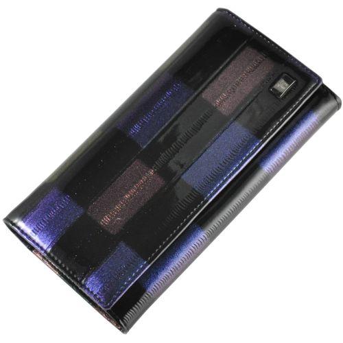 Женский кожаный кошелек 2030-C28 шашка черный