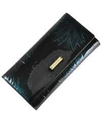 Женский кожаный кошелек 2030T-4B39 цветы зеленый