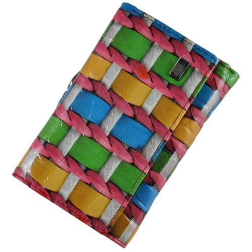 Женский кожаный кошелек 2103-D39 плетеный разноцветный