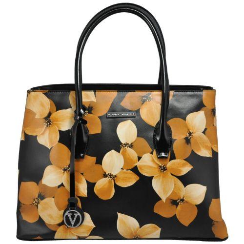 Женская кожаная сумка VF-69965-3 осенний цветочек черная