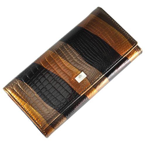 Женский кожаный кошелек LE-931 питон коричневый