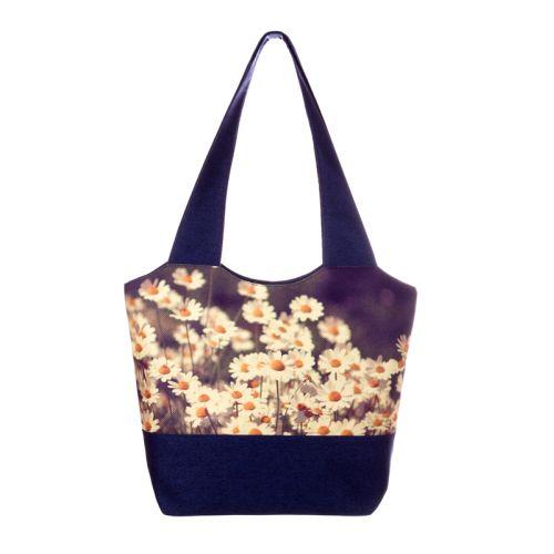 Городская сумка XYZ Флер С0305 Ромашки Темно - синяя