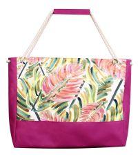 Пляжная сумка XYZ Holiday 2223 разноцветные листья малиновая